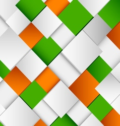 Abstract white and green orange square background vector image