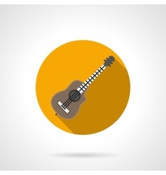 Acoustic guitar flat round icon vector image
