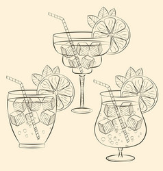 alcoholic cocktail glass hand drawn sketch vector image