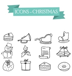 Art of holiday icons collection vector