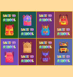 Back to school rucksacks and satchels types poster vector