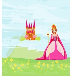 Beautiful queen in front of her castle vector image