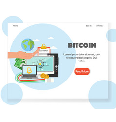 Bitcoin investment website landing page vector