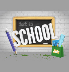 blackboard welcomes back with pencil and colorful vector image
