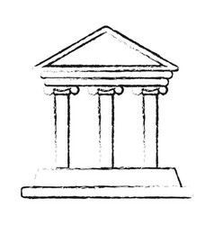 blurred silhouette parthenon icon architecture vector image