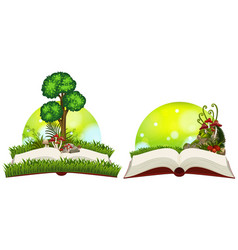 book of nature with grass and tree vector image