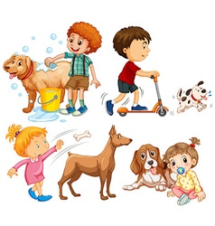 Boys and girls doing activities vector image