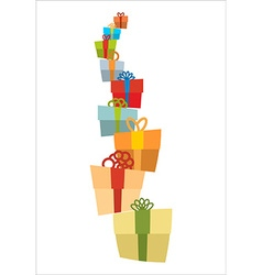 Bunch of gifts Stack of gift boxes Tower of gifts vector image