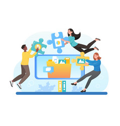 business people organize files inside computer vector image