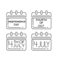 Calendars icons set for the independence day vector