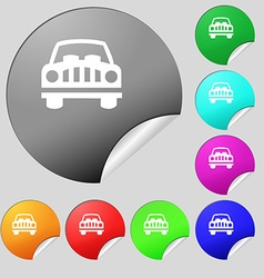 Car Icon sign Set of eight multi colored round vector
