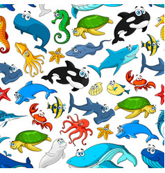 cartoon sea fishes and animals pattern vector image