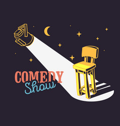 Comedy show concept with bar chair and spotlight vector