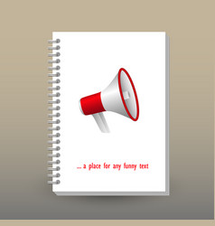 cover of diary red white megaphone symbol vector image