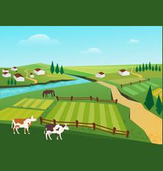 cows graze in village countryside summer landscape vector image