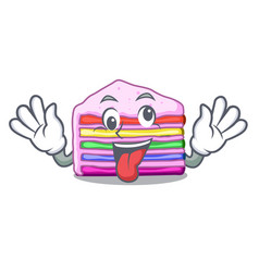 crazy rainbow cake in ice mascot cupboard vector image