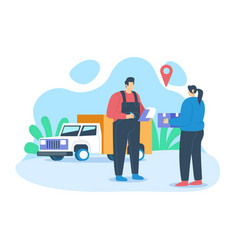 delivery man handover product vector image
