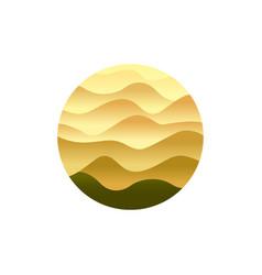 desert emblem sand waving dunes yellow desert vector image