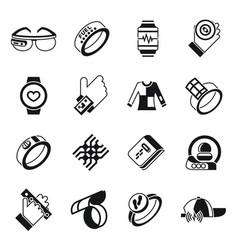 Digital wearable technology icons set vector
