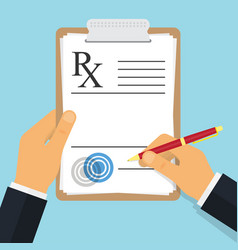 Doctor writing notes on a prescription pad vector