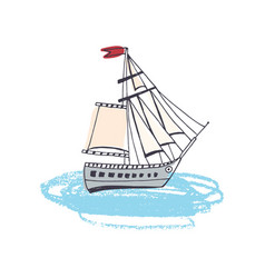 doodle drawing passenger ship classical vector image