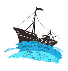 Fishing boat on the blue wave vector