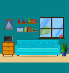 flat retro living room with sofa and window vector image