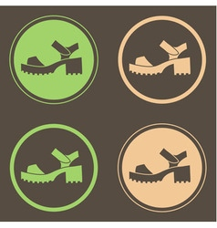 Four round logo with stylish chunky sandals vector