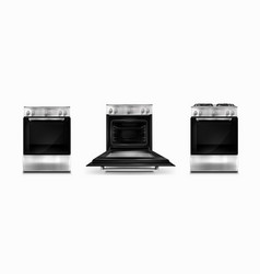Gas stove and cooking panel with electric oven vector