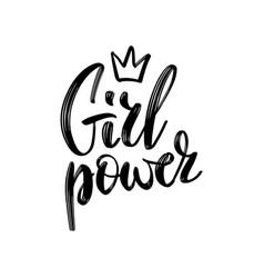 girl power text feminism slogan black vector image