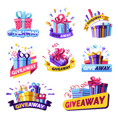 Giveaway isolated icons social media contest vector