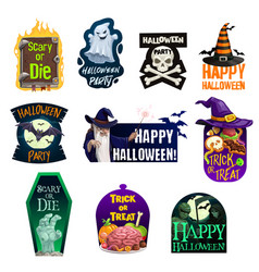 halloween ghost bat witch hat with candy icons vector image