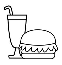 hamburger with milkshake vector image