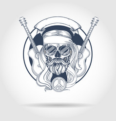 hippie skull with hair vector image