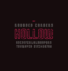 hollow sans serif font with rounded corners vector image