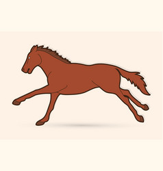 horse racing running cartoon graphic vector image