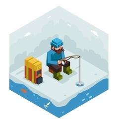 Ice Fishing Winter Activity Vacation Icon Flat vector