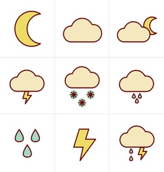 Icons Style Weather icons on white background vector image