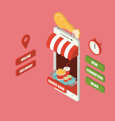 isometric fried chicken mobile delivery vector image