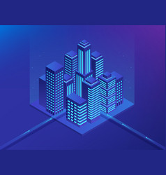 Isometric future city real estate and vector