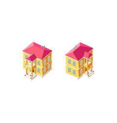 isometric set yellow country house vector image