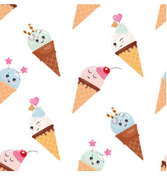 Kawaii ice cream cone seamless pattern background vector