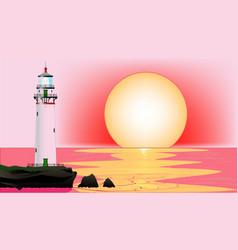Lighthouse sunset vector