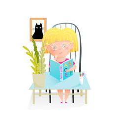 Little girl reading a book sitting at desk in room vector