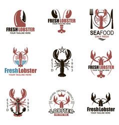 lobster emblem set vector image