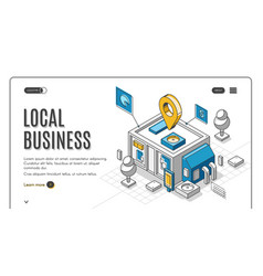 Local business isometric landing page start up vector