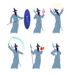 magic wizard character cartoon magicians mystery vector image