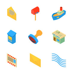 Mailing icons set isometric style vector