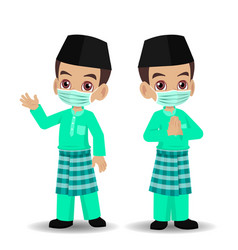 Malay boy celebrating hari raya aidilfitri vector