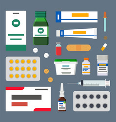 medicines set sharp syringes and sterile plasters vector image